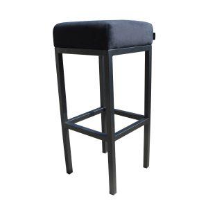 Bruce, barkruk velvet zwart, zwart metalen poten, dikke zitting, 75 cm, fluweel, kruk, goedkoop