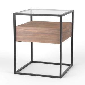 table d'appoint, table d'appoint multifonctionnelle, Baily, must have, table de chevet, bois de noyer,