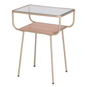 nino, table d'appoint, rétro, verre, or, table de chevet