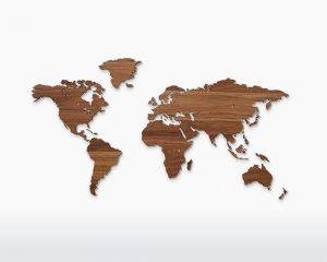 Landkaart walnoot hout Wooden Amsterdam Damiware decoratie