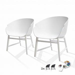 Lounge Gartenstuhl weiß 2er Set Alex