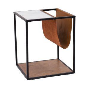 Bijzettafel metalen frame met tijdschrifthouder en marmeren tafelblad Kwin