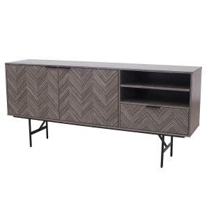 TV-meubel 180 cm Warm Grijs Visgraat fineer Noah