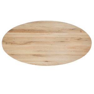 eiken houten eet tafel ovaal tafelblad Dami living
