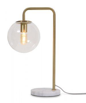 Tafellamp Warsaw ijzeren frame met glazen lampenkap